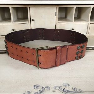 4/$25 Express Brown Stud Leather Belt Double Prong